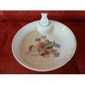ASSIETTE  CHAUFFANTE DECOR LAPIN VERT (bouchon ourson)en porcelaine