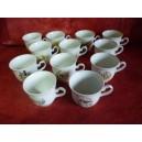 SERVICE A CAFE 12 tasses décor de Chasse modèle LOUISE 9cl en porcelaine