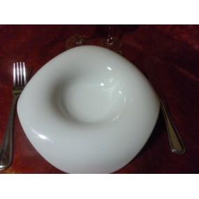 ASSIETTE à DEGUSTATION Modèle AMBIANCE LOUNA en porcelaine blanche diam 24cm
