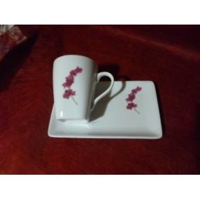TASSE A CAFE CAPUCCINO 15cl avec soustasse rectangulaire Décor ORCHIDEE en porcelaine