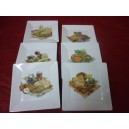 SERVICE A FROMAGE 6 ASSIETTES CARREES JAPAN en porcelaine