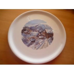 PLAT à tarte ou à fromage DECOR MONTAGNE en porcelaine