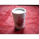 BOUGEOIR CYLINDRIQUE décor CORAIL en porcelaine  Haut 8cm diam 5cm avec bougie