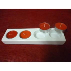 BOUGEOIR rectangulaire 4 feux en porcelaine blanche avec 4 bougies rouge senteur FRAISE