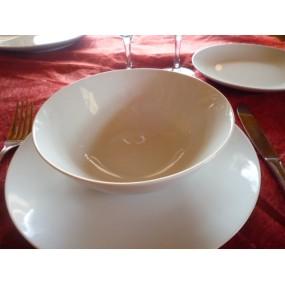 ASSIETTE CREUSE CALOTTE COUPE LEO  diam 18cm en porcelaine blanche
