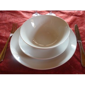 SERVICE DE TABLE 18 Assiettes coupe LEO en PORCELAINE blanche