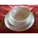 SERVICE DE TABLE 24 Assiettes coupe LEO en PORCELAINE blanche
