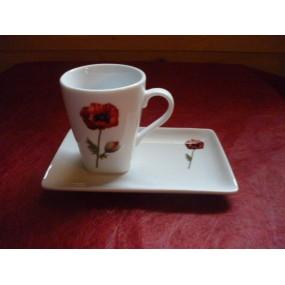 TASSE A CAFE CAPUCCINO 15cl DECOR COQUELICOT PAVOT avec soustasse rectangulaire en porcelaine