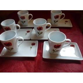 Service à Café CAPUCCINO 6 tasses 15cl +soustasses  Décor COQUELICOT PAVOT en Porcelaine
