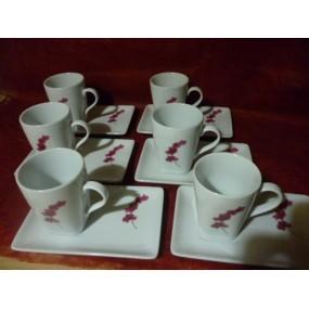 Service à Café CAPUCCINO 6 tasses 15cl +soustasses  Décor ORCHIDEE en Porcelaine