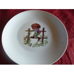 ASSIETTE PLATE LEO decor ENFANT SUR BARRIERE 24cm en porcelaine