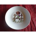 ASSIETTE A DESSERT COUPE LEO  decor ENFANT SUR BARRIERE en porcelaine