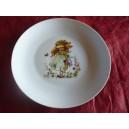ASSIETTE PLATE LEO 24cm décor poulbot fille verte en porcelaine