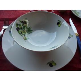 ASSIETTE CREUSE CALOTTE COUPE LEO  Décor OLIVES en porcelaine