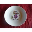 ASSIETTE A DESSERT COUPE LEO  decor petite fille parme en porcelaine