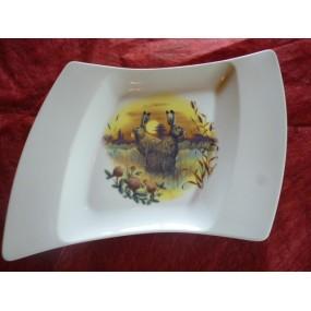 ASSIETTE PLATE OCEANE décor CHASSE de 15cm  les lièvres en porcelaine
