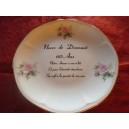 """ASSIETTE 60 ans de Mariage """"NOCES DIAMANT"""" en Porcelaine DECOR ROSES modèle Jastra"""