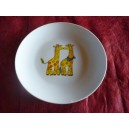 ASSIETTE A DESSERT COUPE LEO  decor GIRAFE en porcelaine