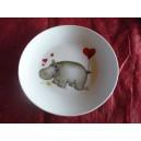 ASSIETTE A DESSERT COUPE LEO  decor HIPPOPOTAME en porcelaine