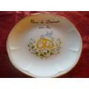 ASSIETTE NOCES 60 ans de Mariage modèle JASTRA en Porcelaine avec Grand décor alliances & colombes sur feuillage