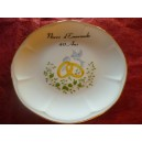 ASSIETTE NOCES 40 ans de Mariage modèle JASTRA en Porcelaine avec Grand décor alliances & colombes sur feuillage