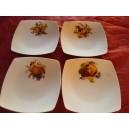 SERVICE A DESSERT 4 ASSIETTES Carrées Décor FRUITS en porcelaine modèle SAHARA