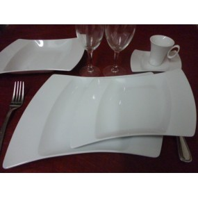 SERVICE DE TABLE 18 pcs OCEANE en PORCELAINE BLANCHE