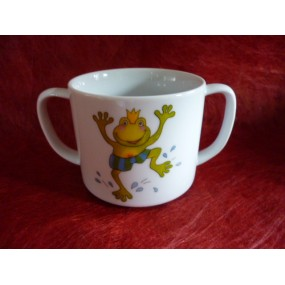 TASSES A ANSES OU GOBELET ENFANT 17cl en porcelaine DECOR  GRENOUILLE