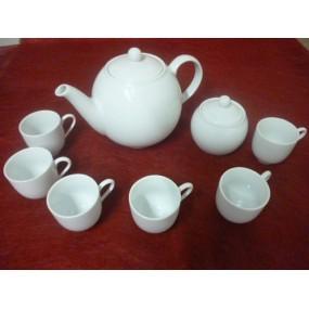 SERVICE A CAFE 6 TASSES Modèle BOULE 10cl (seule) AVEC THEIERE 1,5L et sucrier  en porcelaine blanche