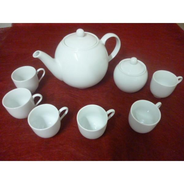 service a cafe 6 tasses mod le boule 10cl seule avec theiere 1 5l et sucrier en porcelaine. Black Bedroom Furniture Sets. Home Design Ideas