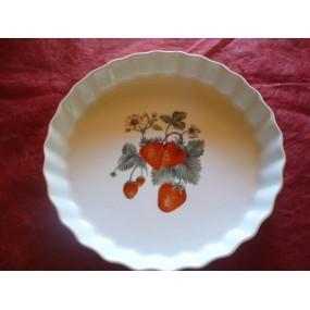 TOURTIERE 30cm décor FRAISES en porcelaine