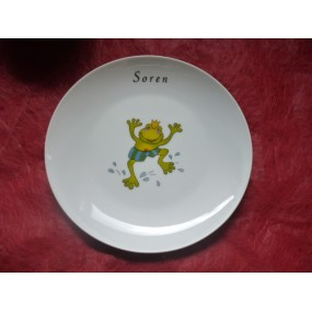 ASSIETTE A DESSERT COUPE LEO  decor GRENOUILLE en porcelaine