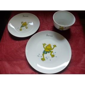SERVICE 2 ASSIETTES + BOL DECOR GRENOUILLE en porcelaine