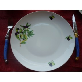 ASSIETTE PLATE COUPE LEO 27cm en porcelaine décor OLIVES
