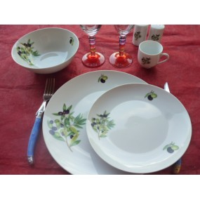 SERVICE DE TABLE 18 Assiettes coupe LEO en PORCELAINE Décor les OLIVES