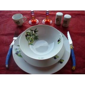 SERVICE DE TABLE 26 pièces LEO en PORCELAINE Décor les OLIVES