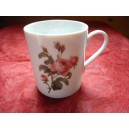 MUG EMPIRE 25cl decor ROSE en porcelaine  ( avec une anse fine)