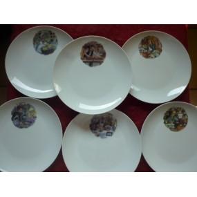 SERVICE A DESSERT 6 ASSIETTES MODELE LEO  en porcelaine DECOR VIEUX METIERS