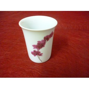 GOBELET ou VERRE A DENTS ROND DECOR ORCHIDEE en porcelaine