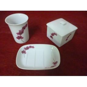 Service 3 pcs SALLE DE BAIN Décor Orchidée en porcelaine