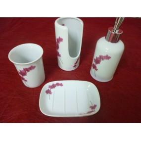Service 4 pcs SALLE DE BAIN Décor Orchidée en porcelaine