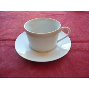 TASSE A THE / CAFE EMPIRE 22cl avec soustasse en porcelaine blanche