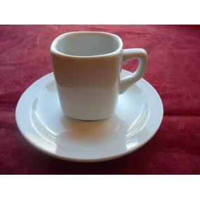 TASSE A CAFE carré LEA 8cl avec soustasse en porcelaine blanche