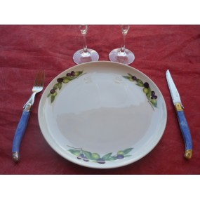 ASSIETTE PLATE ELYSEE DECOR OLIVES en Porcelaine