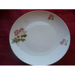 ASSIETTE PLATE COUPE LEO 27cm en porcelaine décor ROSES CAPITOLINA