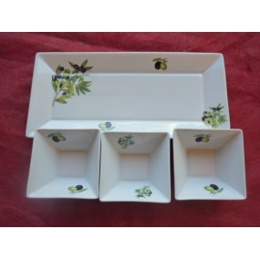 PLATEAU 3 RAVIERS JAPAN DECOR OLIVES EN PORCELAINE