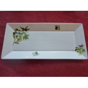 PLAT RECTANGULAIRE JAPAN DECOR OLIVES en Porcelaine