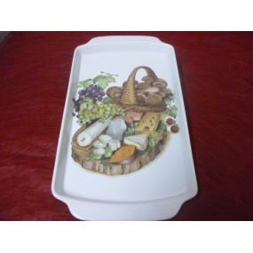PLATEAU A FROMAGES à anses rectangulaire en porcelaine décor FROMAGES