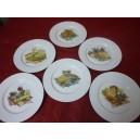 SERVICE A FROMAGE 6 ASSIETTES HELENE en porcelaine décors de fromage