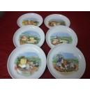 SERVICE A FROMAGE 6 ASSIETTES Elysée en porcelaine décors de fromage